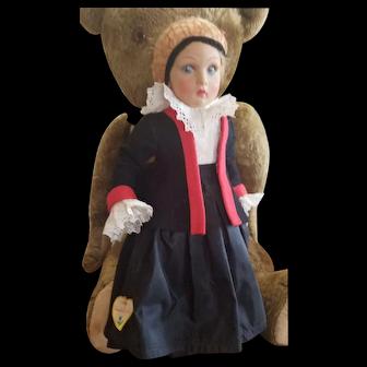 """Vintage Lenci 14"""" Pressed Felt Doll All Tags"""