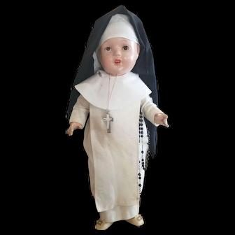 "Wonderful Vintage 16 1/2"" Composition Nun Doll"