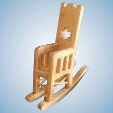 Adorable Doll House Carved Wood Rocking Chair