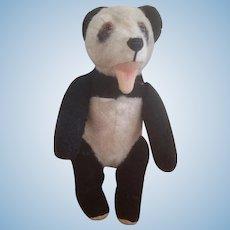 "Vintage 1940's Stuffed Standing Panda Bear 10 1/2"""