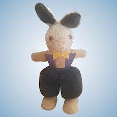 Adorable Vintage Velvet & Plush Stuffed Easter Rabbit
