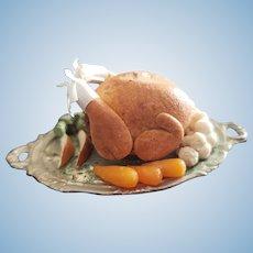 Vintage Dollhouse Miniature Turkey Platter