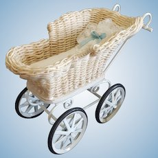 Adorable Dollhouse Miniature Wicker Buggy