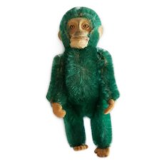 "1930's Schuco 5"" Green Mohair Monkey Perfume Bottle"