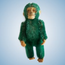 "1930's Schuco 5"" Green Mohair Monkey Perfume Bottle"