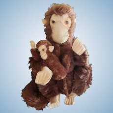 Vintage 1930's Mohair Monkey Chimp with Baby