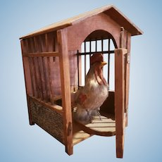 Vintage German Chicken in Wooden Cage Toy