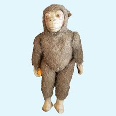 Interesting 1930's Composition & Wool mohair Glass Eyed Monkey Doll