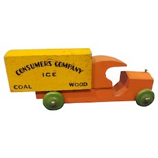 Cute Wooden Vintage Advertising Truck for Doll House