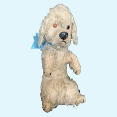 Vintage Mohair Chiltern Mechanical Begging Poodle Dog Toy