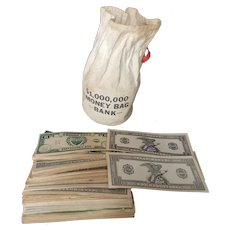 1940's $1,000,000 Toy Money Bank Bag for Doll