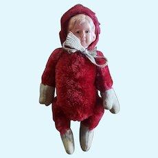 """Wonderful Red Mohair Teddy Bear Doll with Celluloid Face 8"""""""