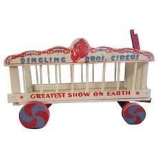 Vintage Early 1900's Wooden Circus Wagon Toy