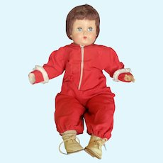 """Adorable Vintage Hard Plastic 21 1/2"""" Baby Doll is Snow Suit"""
