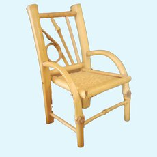 Adorable Miniature Bamboo Wicker Chair For Doll