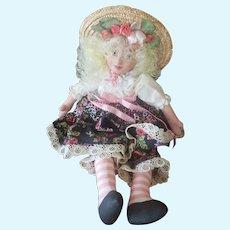 "Vintage Painted Oil Cloth 15"" Artist Doll"