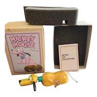 Vintage Retro Tin Metal Wind-Up Disney Pluto Toy