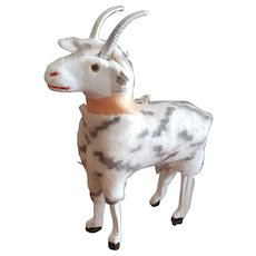 Vintage Wooden Felt Covered Goat
