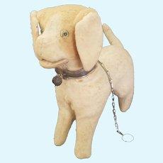 "Large 7 1/2"" Felt & Excelsior Stuffed Squeaker Dog Doll Companion"