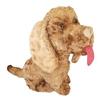 Wonderful Vintage Excelsior Seated Dog with Felt Tongue Doll Companion