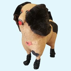 Early 1900's Excelsior Stuffed Poodle Dog with Shoe Button Eyes