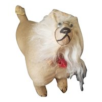 Most Unusual Wool Covered Excelsior Stuffed Dog Doll Companion