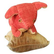 Vintage Red Velvet Dog on Velvet Pincushion