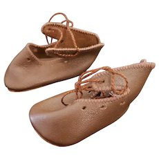 Vintage Incised Leather Shoes for Kathe Kruse Doll