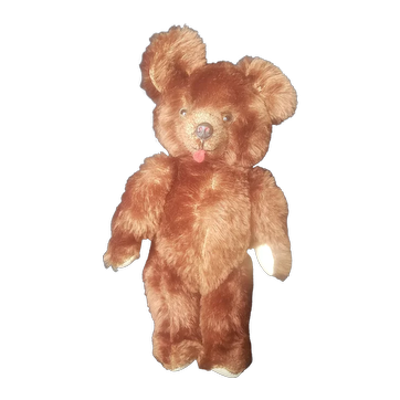 """Adorable Mohair Teddy Bear with Tongue Sticking Out 16 1/2"""""""