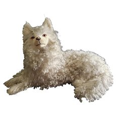 Wonderful Vintage Paper Mache Wool Salon Dog