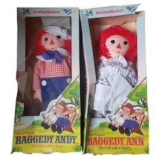 "1979 Knickerbocker 17"" Raggedy Ann & Andy Doll Pair"