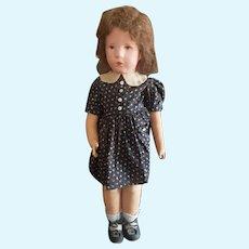 "1930's Kathe Kruse 20 1/2"" Painted Cloth Face Doll VIII All Original"