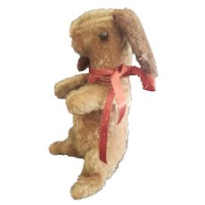 Adorable Antique Mohair Bunny Rabbit with Shoe Button Eyes