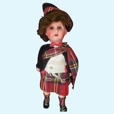 """Vintage German 8"""" Bisque Head Scottish Boy Doll"""