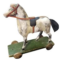 Wonderful Early Folk Art Wooden Pull Toy for Doll Cabinet Size