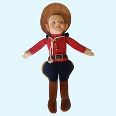 "Vintage 9"" Cloth Velvet Norah Welling Mountie Doll"