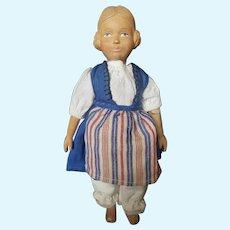 "11 3/4"" Swiss Huggler Carved Wood Doll"