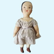 1977 J. L. Fisher Folk Art Painted Cloth Doll 16""