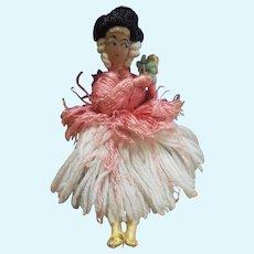 Adorable Vintage French Lady Yarn Doll