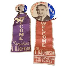 Neat Lot of 2 LBJ Johnson Political Pins For Teddy Bear or Doll