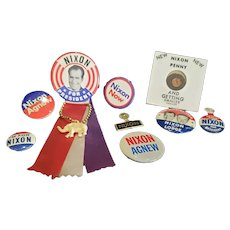 Huge Lot of Vintage Political Nixon Pins for Doll or Teddy Bear