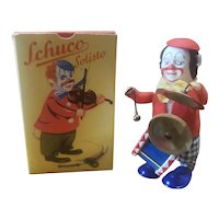Vintage Schuco Wind Up Clown Doll Playing Drum in Box