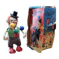 Vintage Schuco Clown Juggler Wind Up Toy Doll in Box