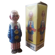 1949 Distler Metal Wind-up Happy Clown Doll Toy in Box