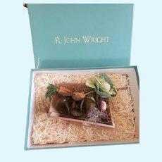 2001 R. John Wright Peter Rabbit Garden Wheelbarrow with Felt Plants MIB