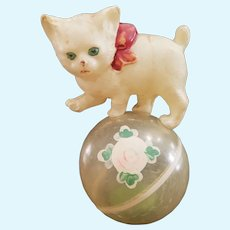 Vintage Celluloid Cat on Ball Doll Toy