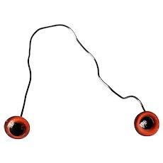 Antique Reddish Orange Glass Eyes for Teddy Bear or Animal Unused