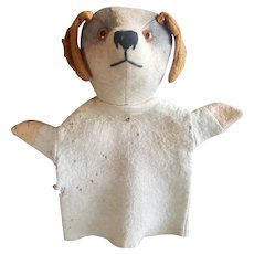 Cute 1920's Felt Bing or Farnell Dog Puppet with Glass Eyes