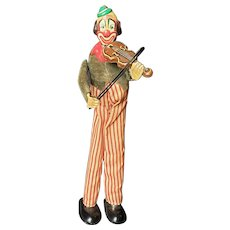 Great 1940's Happy the Violinist Metal Wind Up Clown