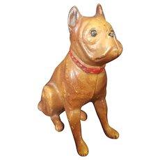 Vintage Cast Iron Painted Metal Dog Bank Doll Companion